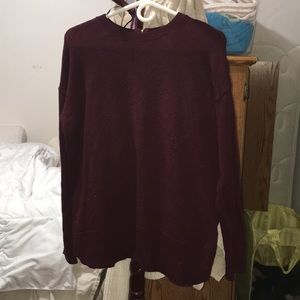 Maroon knit sweater with zipper back